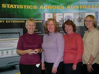 Photo: Library staff of the State Library of Tasmania pictured infront of the Statistics Across Australia display.