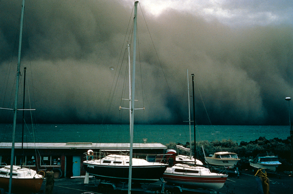 Photograph: Severe storm clouds approach yacht club, 2000 – courtesy Bureau of Meteorology.