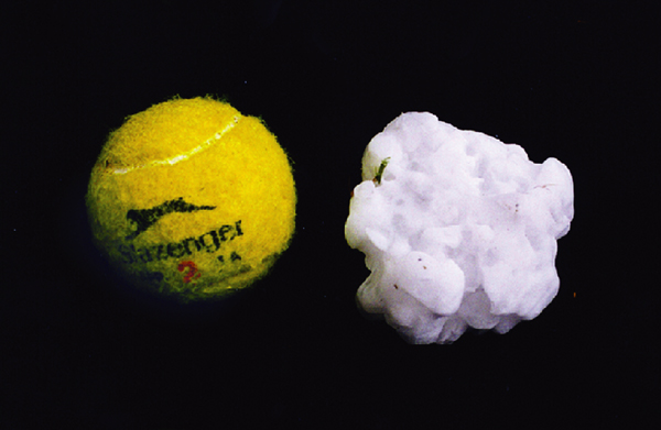 Photograph: Tennis ball sized hail, Sydney, April 1999.