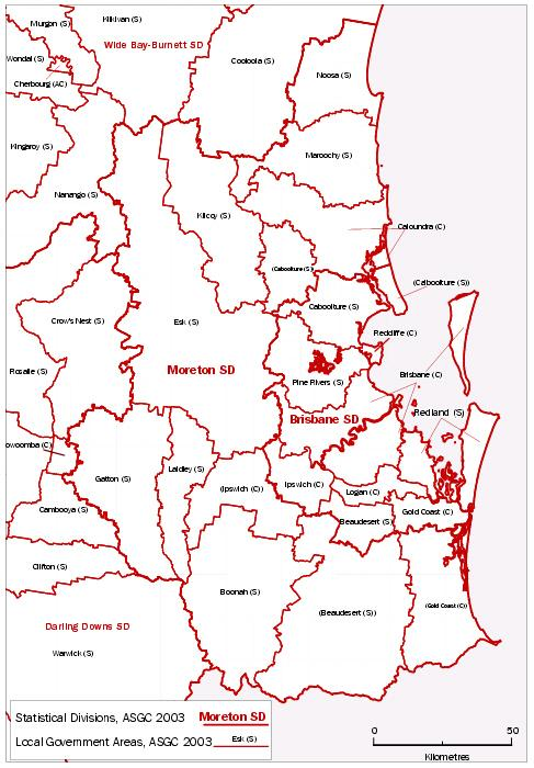 Map - MAP 1  QUEENSLAND, ASGC 2003 STATISTICAL DIVISIONS