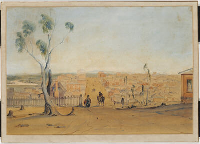 Coloured sketch of Melbourne in 1841 showing many houses and a wide dirt street