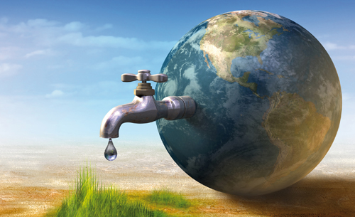 Picture of world with a large tap