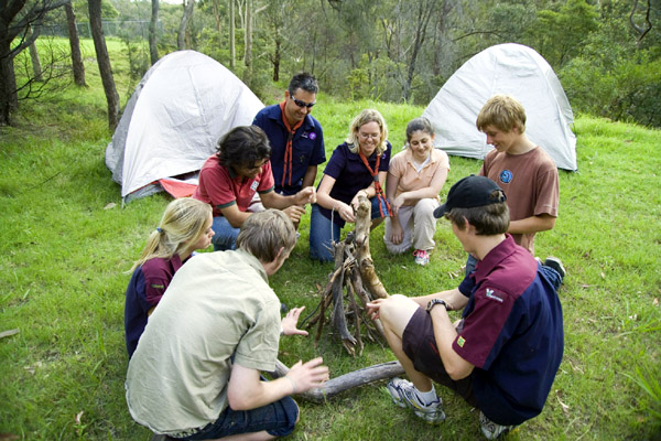 Photograph: Scouts building a fire – courtesy Scouts Australia.
