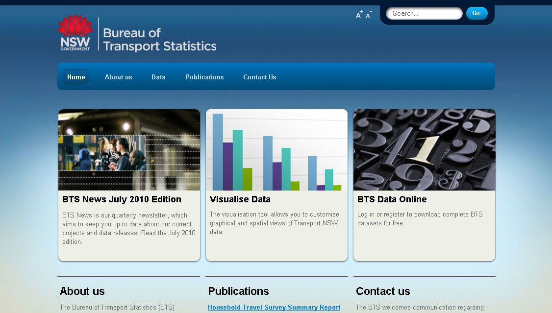 Image: Proposed homepage of the re-developed Bureau of Transport Statistics website.