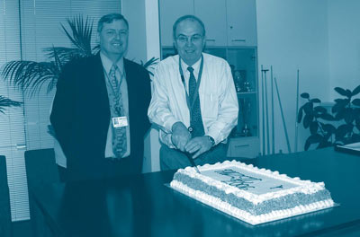 Peter Harper, Deputy Australian Statistician and Ron McKenzie, Statistics New Zealand's Principal Economic Statistician, Industry and Labour Group, at the celebrations of the 2006 ANZSIC release