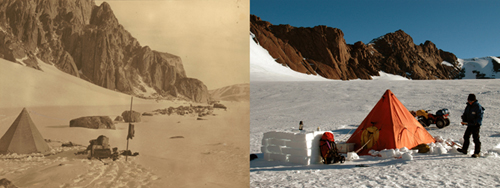 Camp site with rocky edge in background, Australasian Antarctic Expedition, 1911–14, photograph from Sir Douglas Mawson collection, courtesy National Library of Australia (left). Field camp – photography by Frederique Olivier 2006  (right).