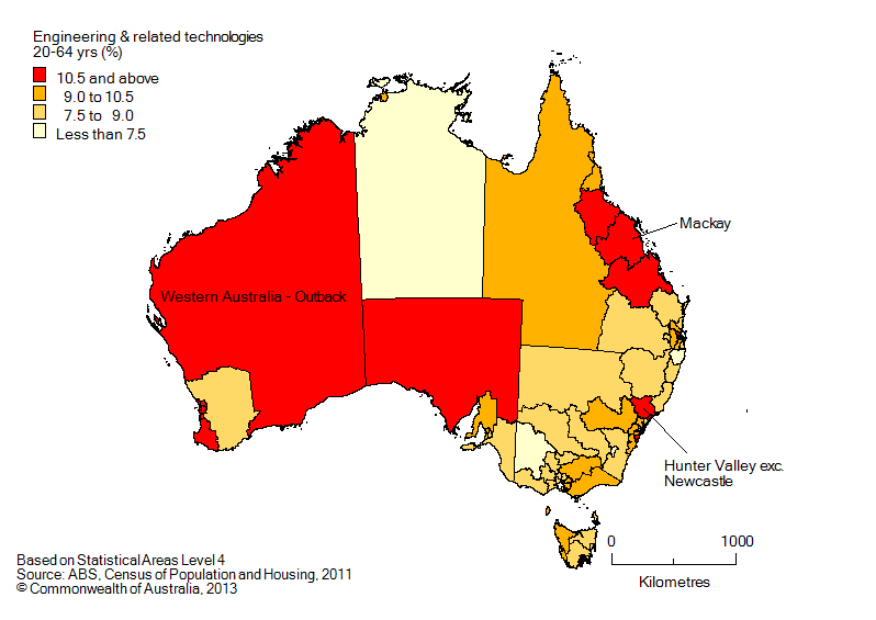Map: Non-school qualifications in engineering and related technologies, 20-64 year olds, Australia, 2011