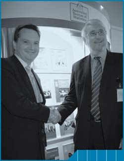 Image of Brian Pink and the Hon Chris Bowen at the 2006 Census Social Atlas Launch