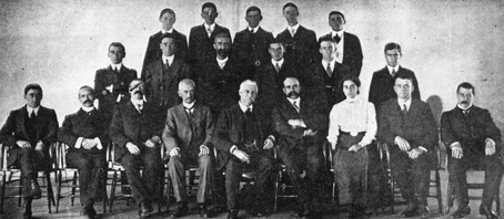 1912 photograph of the 20 permanent staff of the Commonwealth Census and Statistics Bureau.