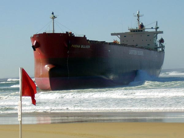 Photograph: 'Pasha Bulker' stranded on Nobbys Beach, Newcastle, June 2007 – courtesy Amy McEneny.