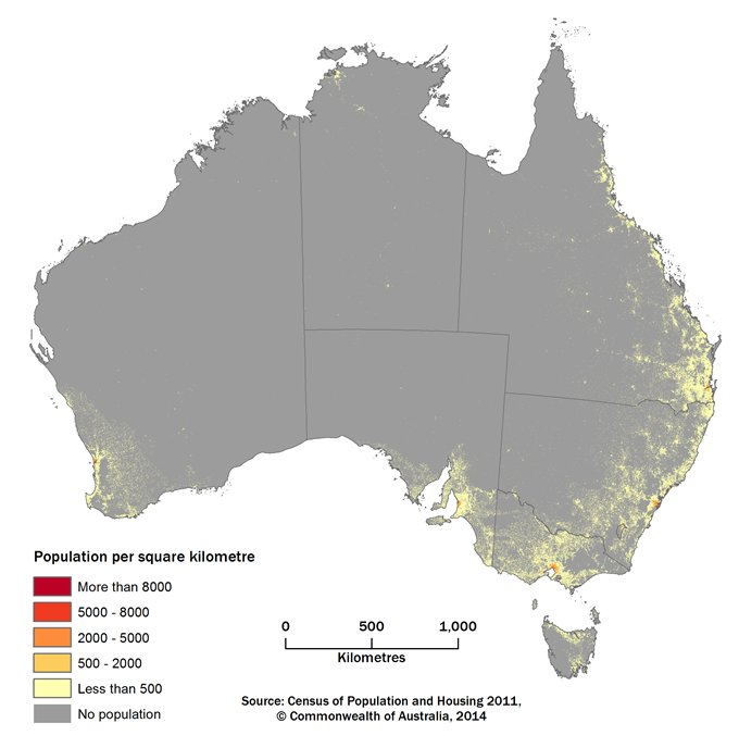 Figure 2, A map of Australia showing the population density in grid cells of 1 square kilometre. Map has same density ranges as Figure 1.