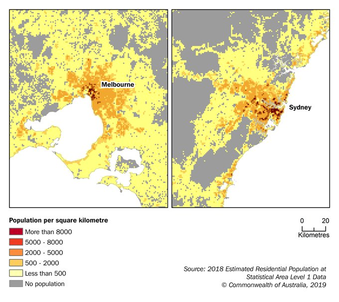 Image: Maps showing Estimated Resident Population Grid around Melbourne and Sydney, June 2018