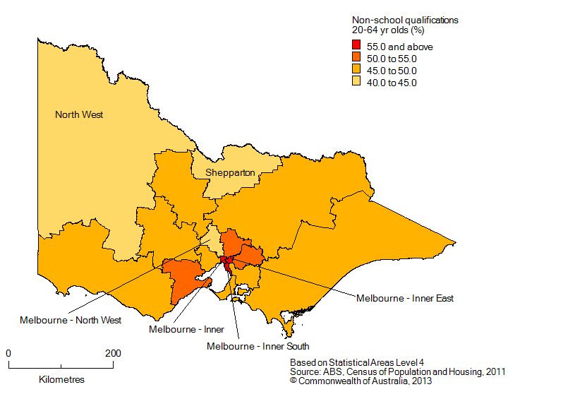 Map: Population with non-school qualifications, 20-64 year olds, Victoria, 2011