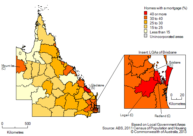 Map: Proportion of homes owned with a mortgage, by Local Government Area, Queensland, 2011. Includes insert for Local Government Areas in Brisbane.