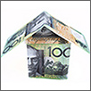 """Picture of a house made out of $100 notes"""