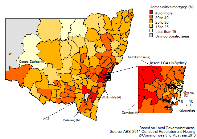 Map: Proportion of homes owned with a mortgage, by Local Government Area, New South Wales, 2011. Includes insert for Local Government Areas in Sydney.