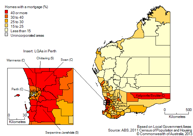 Map: Proportion of homes owned with a mortgage, by Local Government Area, Western Australia, 2011. Includes insert for Local Government Areas in Perth.