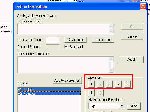 Image shows the operators that you can use in a formula to calculate a derivation.