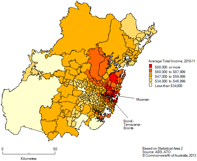 Average total income by SA2, Greater Sydney, 2010-11