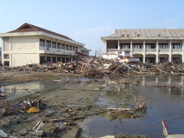 Photograph: Impact of the December 2004 Indian Ocean tsuinami.