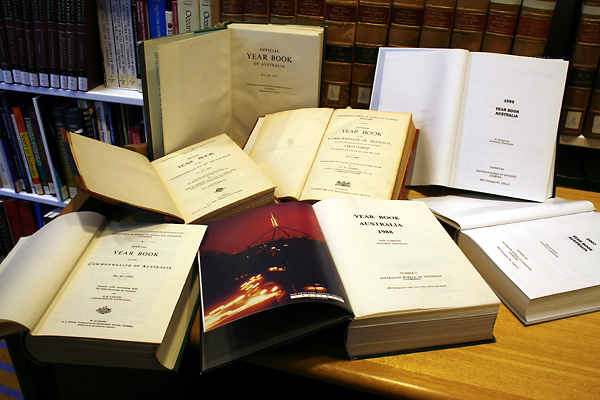 Photograph: Yearbooks at the Parliamentary Library