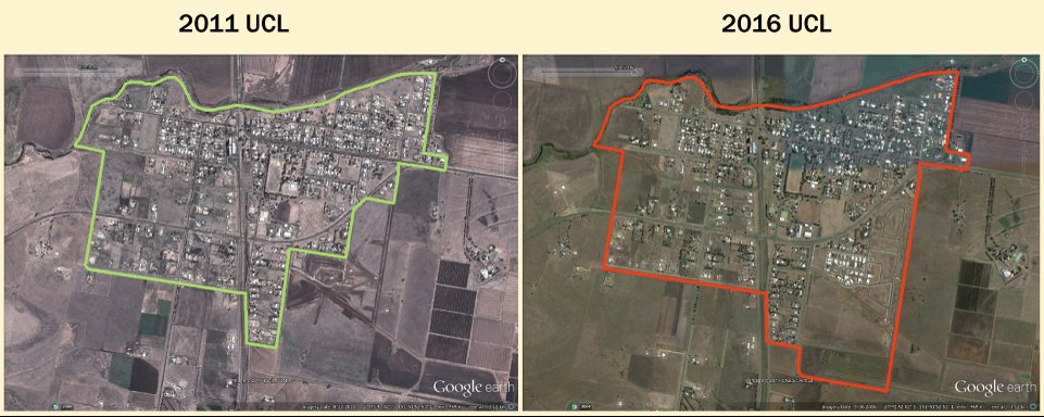 On the left: 2011 imagery with an overlay of the 2011 UCL boundary for Cambooya. On the right: 2016 imagery with an overlay of 2016 UCL boundary for Cambooya. The imagery shows growth of the town and the 2016 UCL boundary has changed to accommodate that.