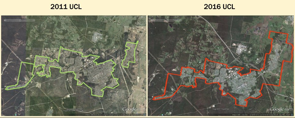 On left: 2011 imagery with an overlay of the 2011 UCL boundaries of Heddon Greta and Kurri Kurri – Weston.  On right: 2016 imagery with an overlay of the 2016 UCL boundary for Kurri Kurri. Showing the 2011 UCLs being joined together to accommodate growth.