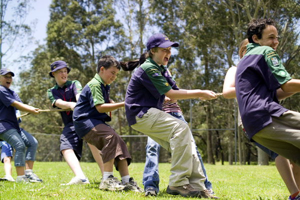 Photograph: Tug-o-war – courtesy Scouts Australia.