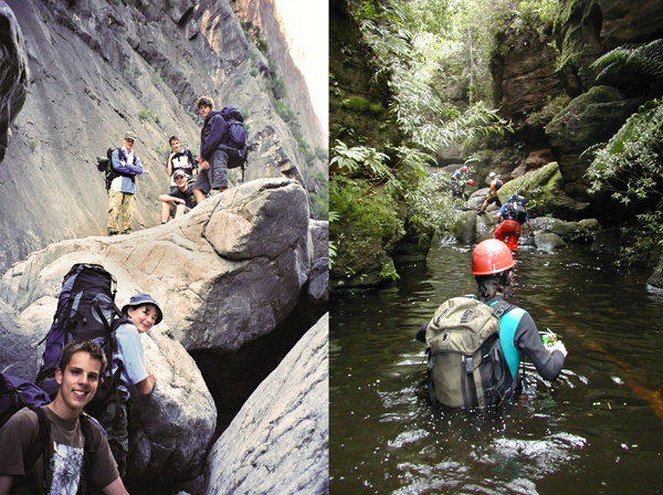 Photograph: Venturer Scouts hiking – courtesy Neville Austin and Australian Scout Magazine (left). Scouts wading through water in a ravine – courtesy Scouts Australia (right),