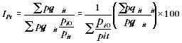 Equation - Paasche index using expenditure weights