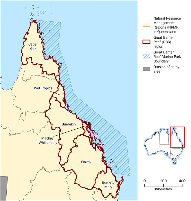 Map: Reference map of Natural Resource Management Regions in the Great Barrier Reef region, including the Great Barrier Reef Marine Park boundary