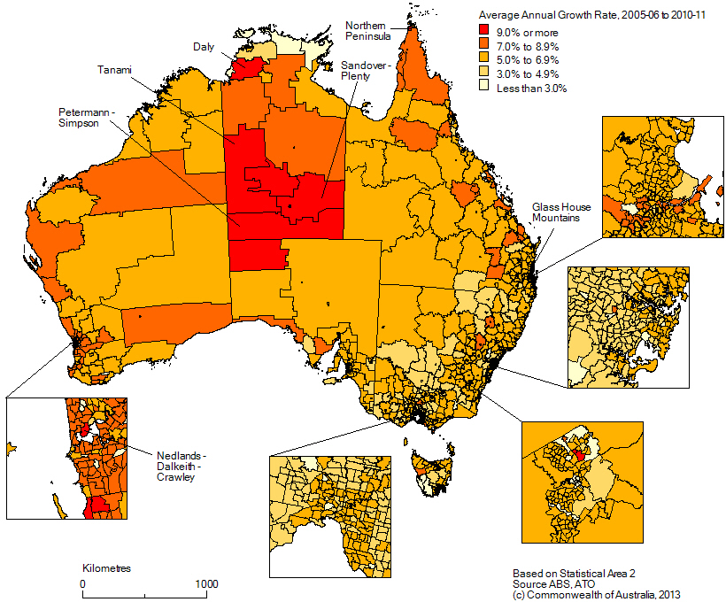 Map of growth in average wages and salaries income,  2005-06 to 2010-11