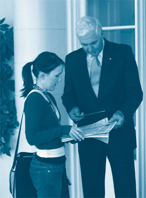 An ABS collector delivers a census form to the Governor-General at Government House