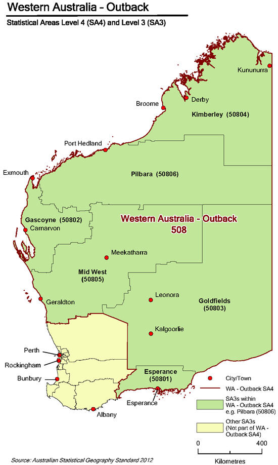 Map of Western Australia - Outback