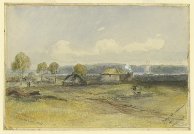 Painting of Port Phillip in 1836 showing a few wattle and daub huts and a ship in the distance