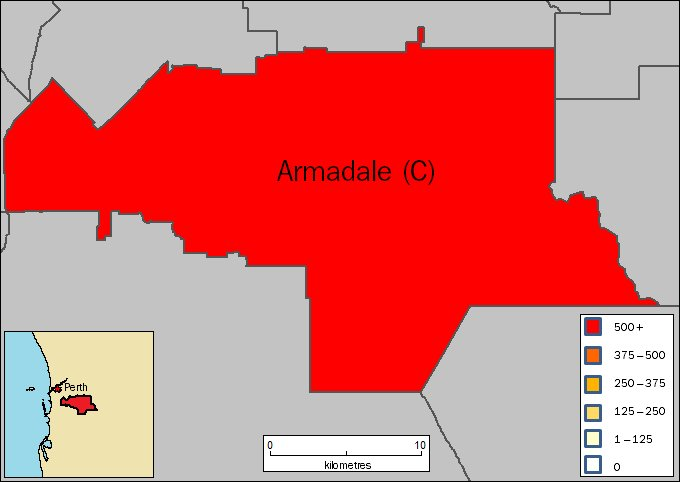 Image: Map of City of Armadale in Western Australia