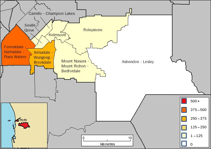 Image: Map of Armadale region in Western Australia