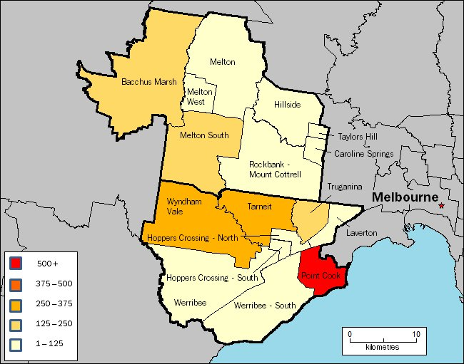 Image: Map of Bacchus Marsh, Melton, Wyndham and Werribee regions in Victoria