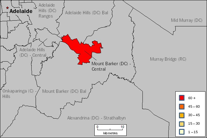Image: Map of Mount Barker (DC) Central SLA in South Australia