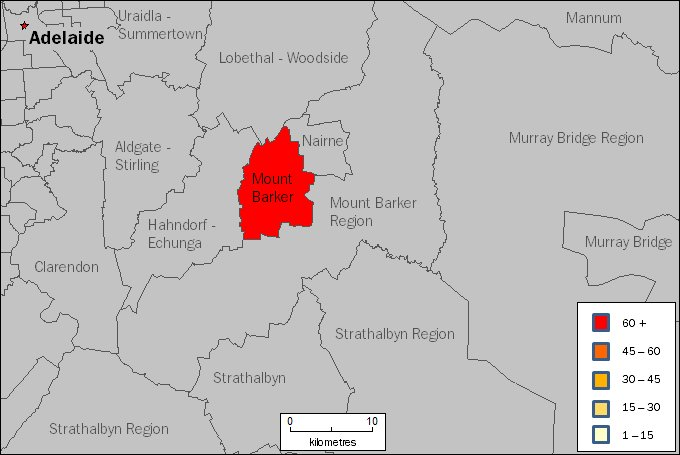 Image: Map of Mount Barker region in South Australia