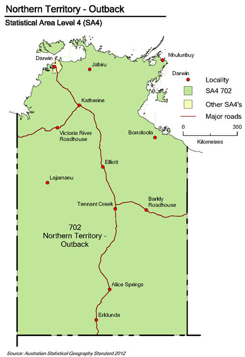 Map of Northern Territory showing SA4 of Northern Territory - Outback, principal roads and towns