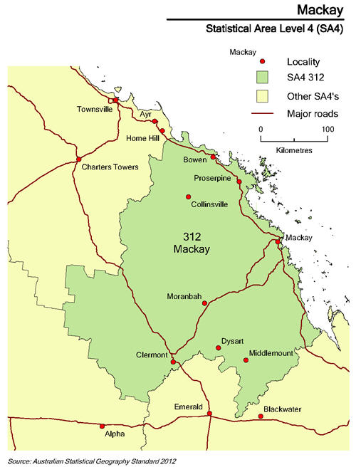 Map showing boundaries of SA4 of Mackay, with principal roads and towns