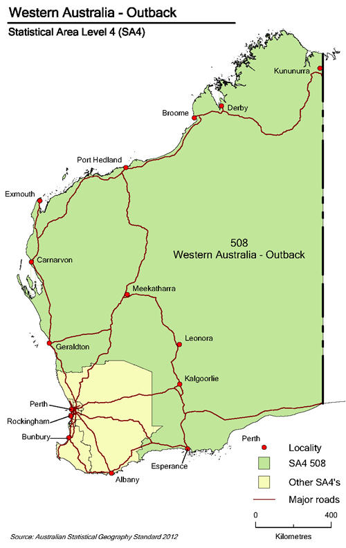 Map showing Western Australa - Outback with Western Australia borders
