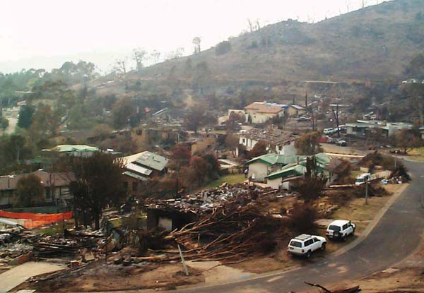 Photograph: Chapman after the Canberra bushfires, January 2003 – courtesy Geoscience Australia.