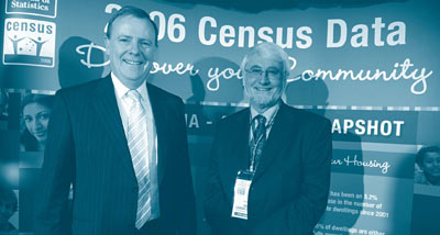 The Hon Peter Costello MP, Treasurer, with the Australian Statistician, Brian Pink, at the launch of the 2006 Census of Population and Housing results