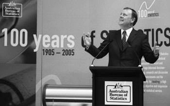 Image: The Hon Peter Costello MP, Treasurer, speaking at the event celebrating the centenary of the ABS and 100 years of statistics on 8 December 2005