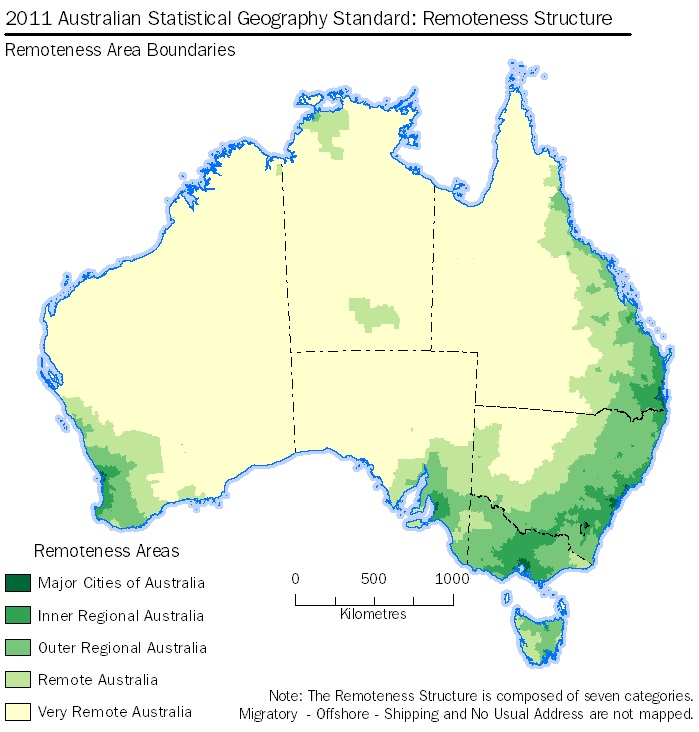 Image: Map - 2011 Australian Statistical Geography Standard: Remoteness Structure