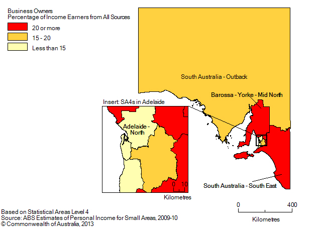 Map: BUSINESS OWNERS (a), Percentage of income earners by SA4, South Australia- 2009-10