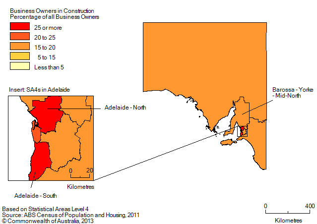 Map: PERCENTAGE OF BUSINESS OWNERS IN THE CONSTRUCTION INDUSTRY BY SA4 (a), South Australia - 2011