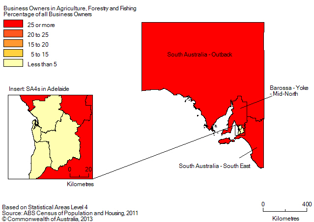 Map: PERCENTAGE OF BUSINESS OWNERS IN THE AGRICULTURE, FORESTRY AND FISHING INDUSTRY BY SA4(a), South Australia - 2011